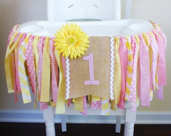 Pink Lemonade Highchair Banner Cake Smash Banner High Chair Photo Prop You are my Sunshine Birthday Banner Summer Banner 1st Birthday Banner