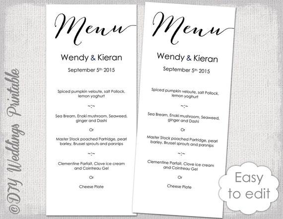 Wedding Menu template Modern calligraphy script black menu DIY – Menu Printable Template