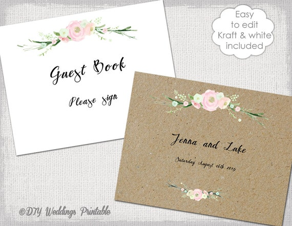 Guest Book Cover Template ~ Wedding guest book sign printable guestbook cover template
