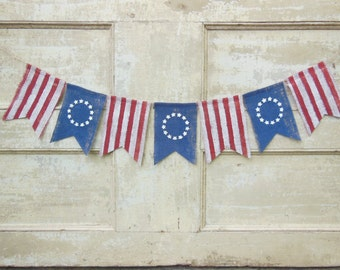 American Flag Banner, Patriotic Banner, Patriotic Bunting, 4th of July Banner Garland, Patriotic Decor, 4th of July Decor, Burlap Bunting