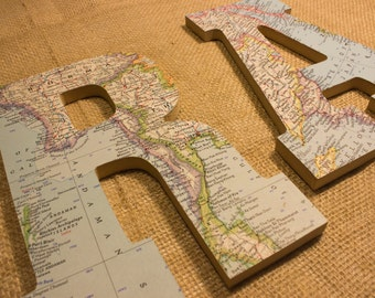 Travel World Map Letters. Wall Art. Word Art.