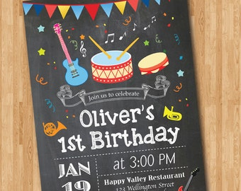 Music Birthday Invitation. Boy or girl Music Party birthday invitation. 1st 2nd 3rd 4th 5th 6th 7th 8th 9th Any ages. Printable Digital.