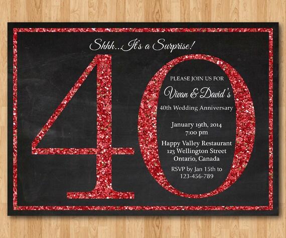 Popolare 40 anniversario di nozze invito a sorpresa. Glitter rosso. BY24