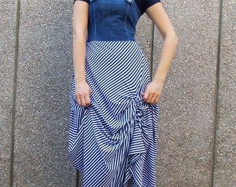 Denim Maxi Dress / Striped Summer Dress / Striped Long Dress / Long Maxi Dress with Navy Top TDK122