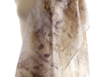grey khaki print scarf silk eucalyptus leaf print scarf, ponge silk shawl eco dyed silk scarf, eco print accessory gift plant print silk