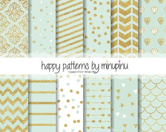 Mint and Gold Glitter Digital Papers, gold glitter patterns on mint background with stars diamonds confetti chevron stripes arrows damask