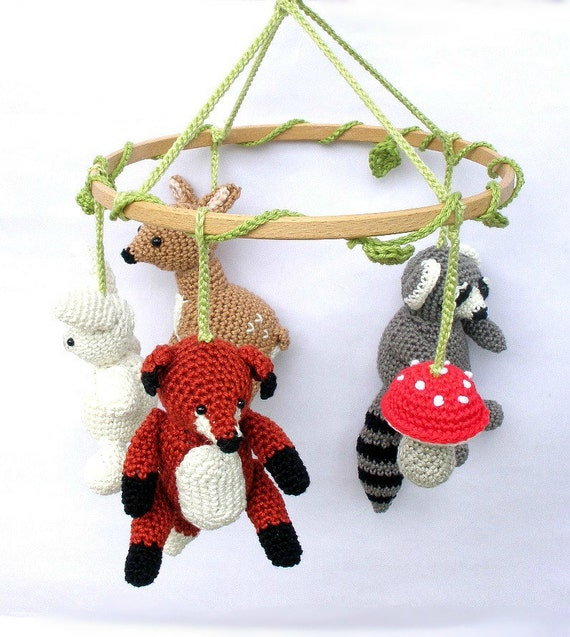 Woodland baby mobile woodland mobile baby mobiles hanging for Woodland animals nursery mobile
