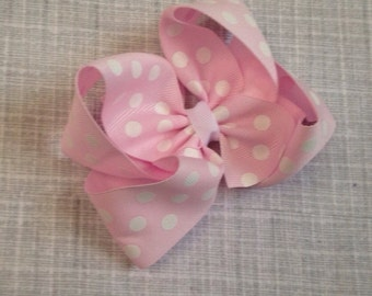 baby pink and white polka dot hair bow - 4.5 Inches Wide by 4 Inches Tall