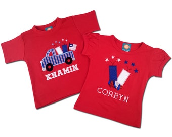 Sibling Brother Sister 4th of July Patriotic Shirts with Embroidered Names
