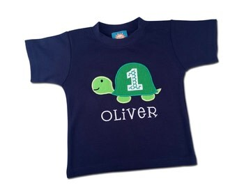 Turtle Birthday Shirt with Number and Embroidered Name