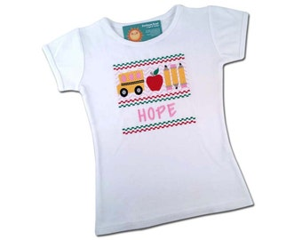 Girl School Shirt with Faux Smocked School Bus and Embroidered Name