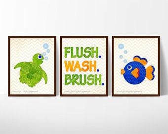 kids bathroom art, sale, kids bathroom decor, gift for kids, bathroom rules sign, kids bathroom prints, set of 3 prints, ocean bathroom art