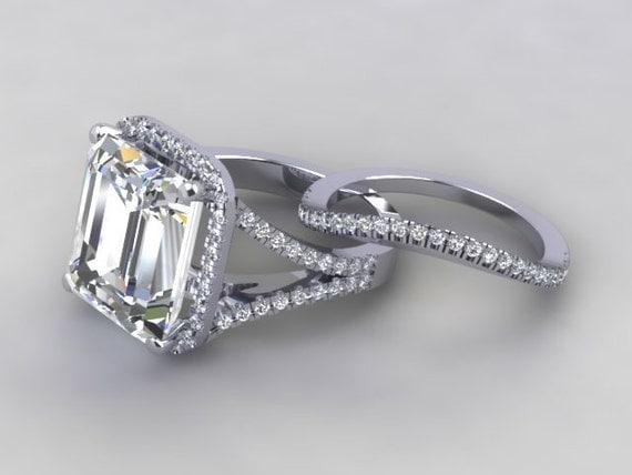emerald cut engagement ring 18kt gold 11x13 by