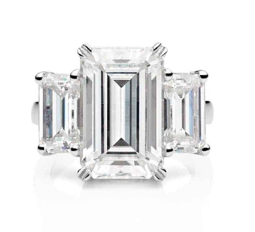 engagement ring emerald cut moissanite by pristinecustomrings
