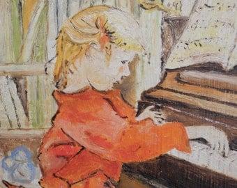 Vintage Russian Oil Painting. Oil on Board. Mid Century Art. Home Decor. Russian Decor. Art. Music. 1950s. Signed Pezvieh. Russian Art.