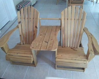 Double Adirondak Chairs with Table Attached