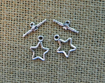 Silver Star Toggle Clasps - Metal Alloy - 2 Sets Per Order