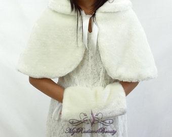 Faux Fur Mink Cape With Handmuff Bundle, Shawl, Flower Girl Mink Cape, Kid Wrap, Wedding Shrug, Kid Fur Stole, Fur Wrap, Fur Stole KC108-IVY