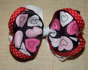 Heart Boutique Bow with Loops, Heart Hair Bow, Boutique Hair Bow, Heart Print Hair Bow, Stacked Hair Bow, Girls Hairbow, Hair Bow for Babies