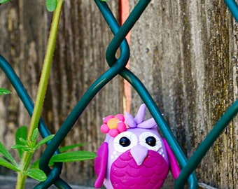 """Whimsical Polymer Clay Owl Collectible Spikelings© Figurine """"Hayley"""""""