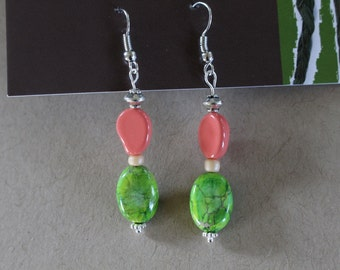 Llime green and pink watermelon beaded earrings