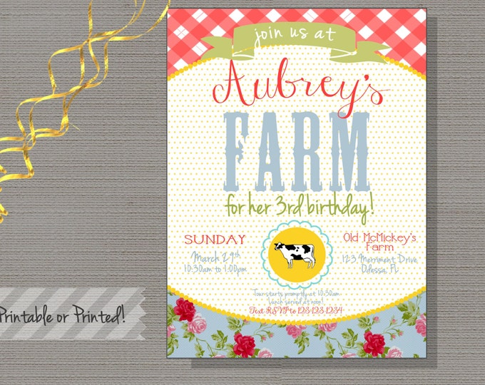 Farm Birthday Invitation, ANY AGE. Red, Mint, Gingham, Blue, Floral, first birthday, printable-FARM Collection