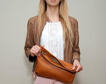 Sale!!! Brown Leather Handbag - Large Clutch Purse, Foldover Purse