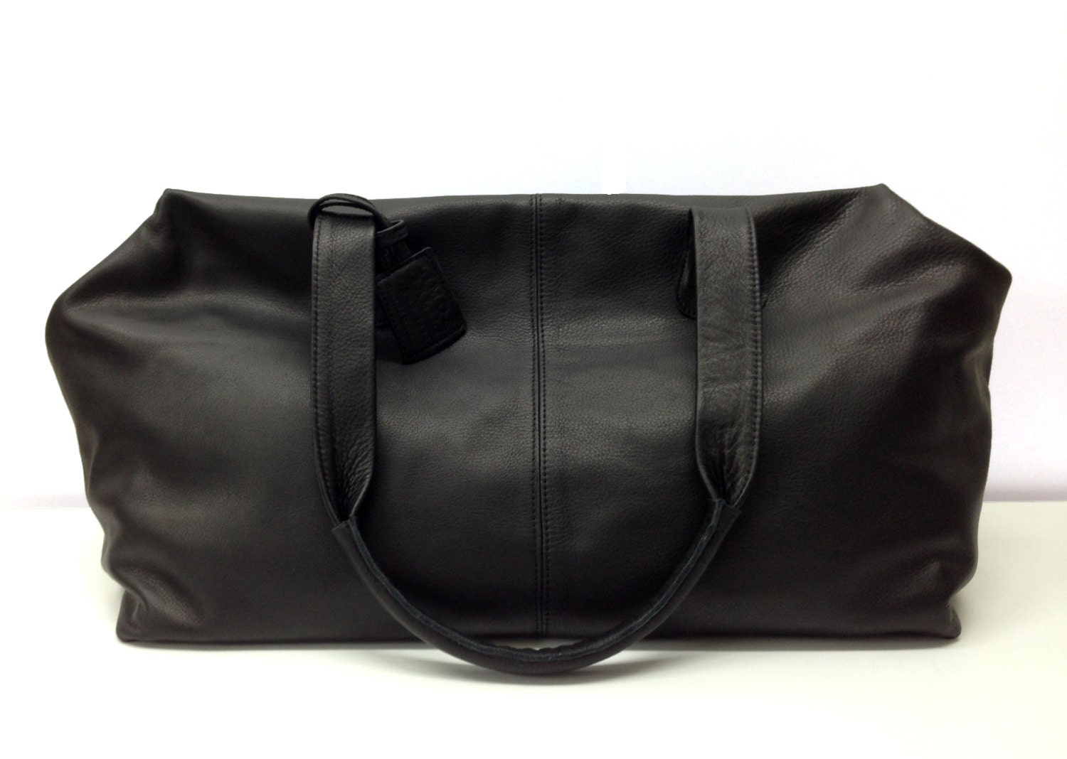 Sale Black Leather Weekend bag Overnight Duffle Leather
