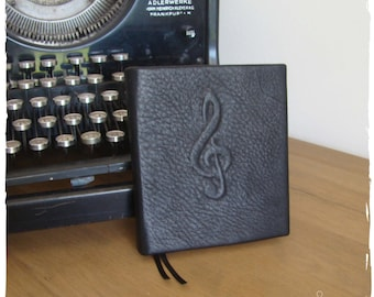 Notebook music keys-black leather, hardcover