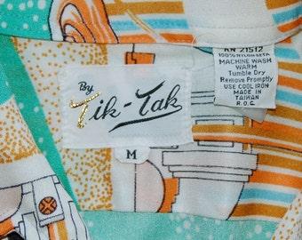 Vintage Tik Tak Space Motif Short Sleeve circa the 70's
