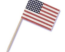 40 Pack of American Flag Cupcake Toppers