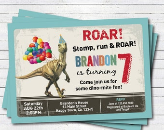 Dinosaur birthday invitation. Boy kids birthday invite. Rustic retro dinosaurs. Dino-mite printable digital invite. KB147