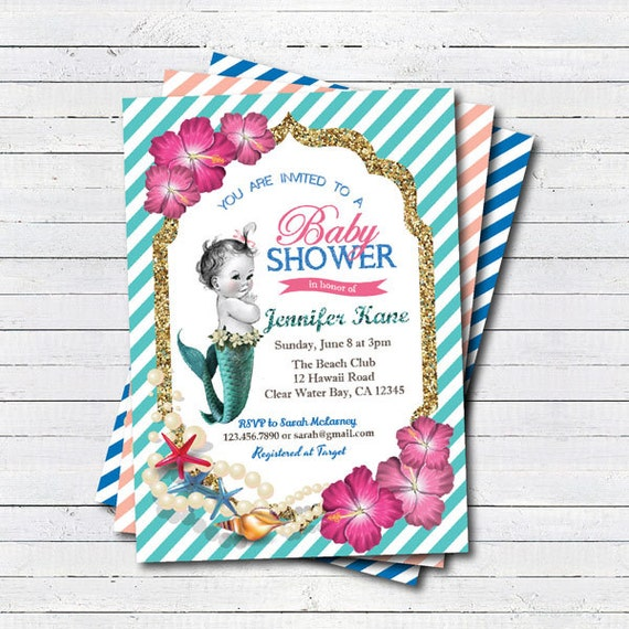 items similar to mermaid baby shower invitation little mermaid on the