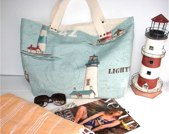 Lighthouses Tote Bag, Woven Tote Bag, Blue Tote, Beach Bag, Lighthouses fabric, Tote Beach Bag, Shopping Bag, Casual Tote Bag, Day Bag