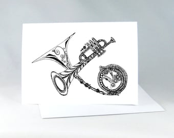Music Lover Card, Musical Instruments Drawing, Trumpet Drawing, Line Drawing, Black and White Art, Music Card, French Horn Drawing 1009
