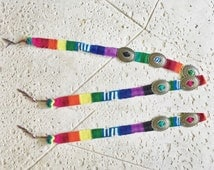 Vintage South Western Concho Belt // Rainbow Mexican Rug
