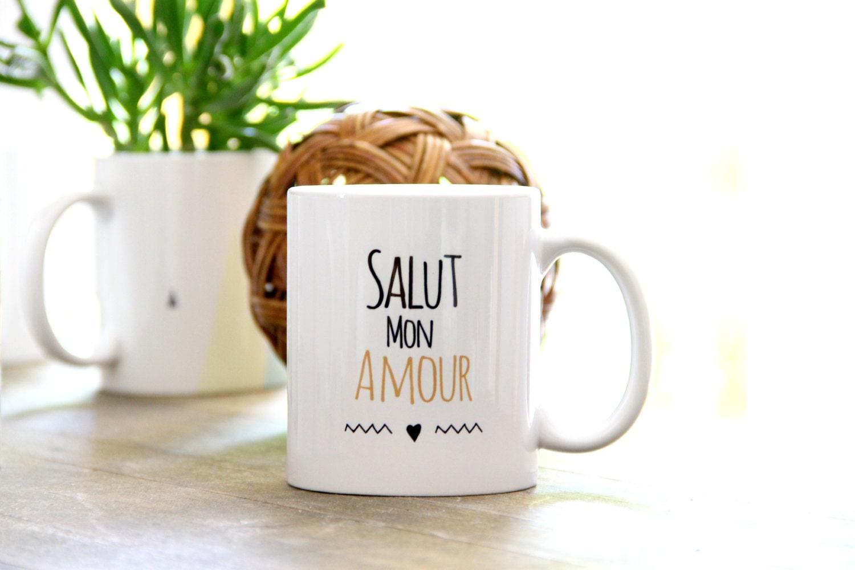 mug valentine 39 s day salut mon amour french by somug on etsy. Black Bedroom Furniture Sets. Home Design Ideas