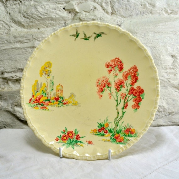 Grindley england antique ceramic plate art deco decorative for Garden art from old dishes