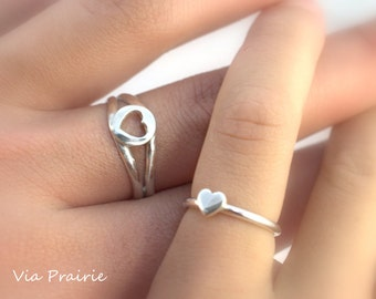 Mother Daughter ring, Mom and Baby ring, Baby gift ring, Baby ring, Heart ring set, Baby Photo prop ring, All Handmade, Sterling silver ring