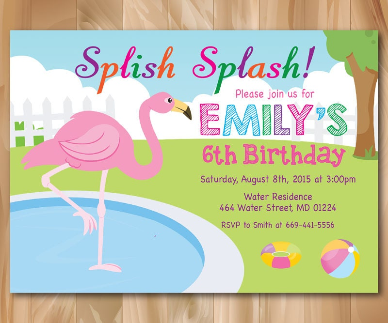 Flamingo Pool Party invitation. Girl Pool Birthday Party