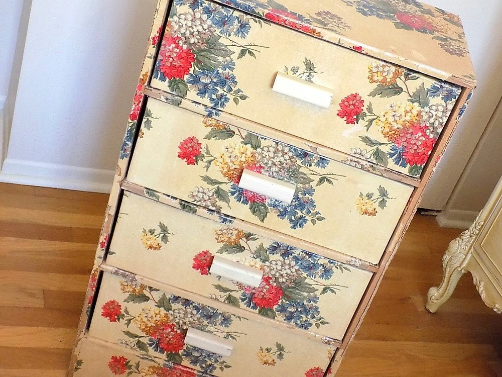 Large Vintage Wallpaper Chest Of Drawers Old Shabby