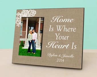 Personalized Frame - Home is where your Heart is - Anniversary - Picture Frame - Rustic Burlap Photo Frame - New Home Gift -PF1129