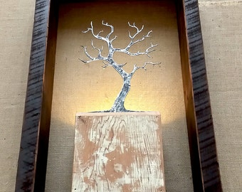 modern rustic tree lamp. repurposed wood & metal