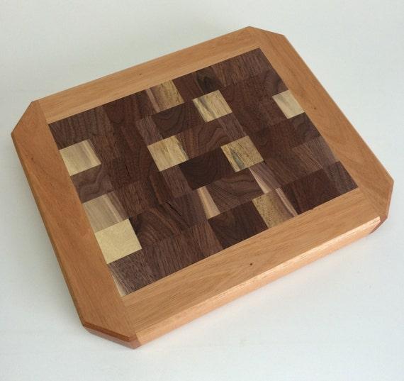 black walnut and mahogany end grain butcher block