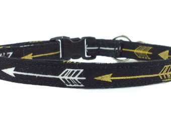 Southwest Inspired - Modern Gold and White Arrows Cat or Kitten Breakaway Safety Collar