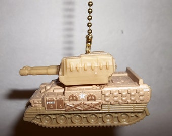 Handcrafted Desert Army Tank Ceiling Fan/Light Pull Chain