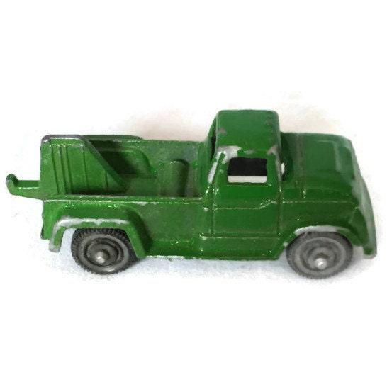 Vintage Tootsie Toy Tow Truck Green Diecast Truck Vintage