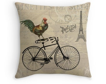 Shabby Chic Decor, Bicycle Cushion, Rooster Decor, Bicycle Decor, Whimsical Cushion, Paris Home Decor, Paris Cushion,Eiffel Tower,Boho Decor