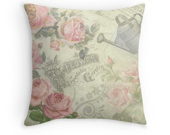 Gifts for Gardeners, Pink Roses, Pink and Green Decor, Floral Cushion, Flower Pillow, Garden Decor, Watering Can, Feminine Decor,Shabby Chic