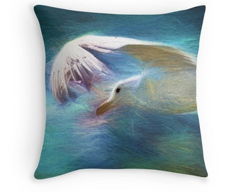 Beach Decor, Sea Gull Cushion, Bird Decor, Seagull Throw Pillow, Bird Pillow Cover, Birdwatchers Gift, Art Throw Pillow, Sea Gull Pillow
